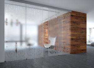 Перегородки и двери из стекла